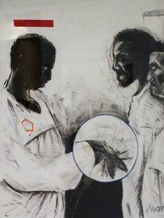 Minenkulu Ngoyi Nhlanzi(Selling of lineage) Charcoal and silkscreen cm 2017