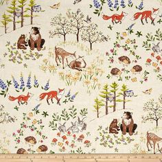 Forest Frolics Allover Scenic Multi from @fabricdotcom  Designed by Heidi Boyd for Red Rooster Fabrics, this cotton print is perfect for quilting, apparel and home decor accents. Colors include black, shades of brown, periwinkle, shades of green, shades of pink, shades of grey, orange and yellow.