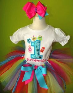 #MC Turquoise Number Rainbow Yo Yo Gabba n Friends Tutu Outfit by PoshBabyStore.com