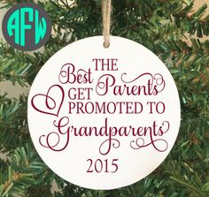 Grandparent First Christmas Ornament Pregnancy by AFWifeCreations
