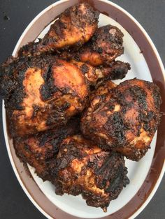 We tried this and WOW was it awesome. I did not have allspice berries so I substituted ground allspice using one full tablespoon. Jamaican Cuisine, Jamaican Dishes, Jamaican Recipes, Carribean Food, Caribbean Recipes, Carribean Jerk Chicken, Sauce Recipes, Chicken Recipes, Cooking Recipes