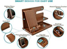 Wood Projects, Woodworking Projects, Wood Phone Holder, Wood Phone Stand, Gifts For Husband, Husband Wife, Key Holder Wallet, Watch Organizer, Wooden Desk Organizer