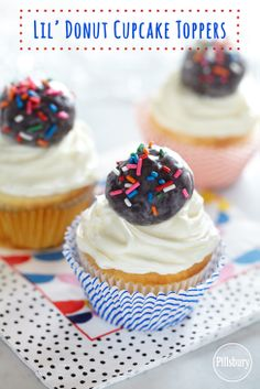 Super easy way to decorate a cupcake—put a Pillsbury® Funfetti® Lil' Donut on top. Double yum! #lildonutspromo