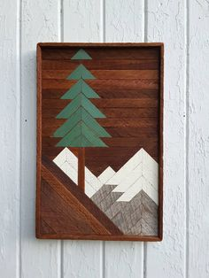 "Reclaimed Wood Wall Art, Mountain Pine Tree Scene, 20"" by 13"", Lath Art, Wall Home Decor, Geometric, Rustic, Beach Decor by PastReclaimed on Etsy"