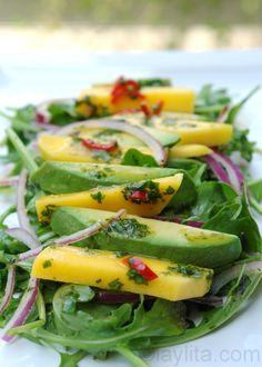 Mango, avocado & arugula salad. I substitute white wine vinegar for the champagne vinegar