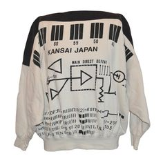 "Rare Yamamoto Kansai Bold ""Directions"" Block Print Boat-Neck Pullover"