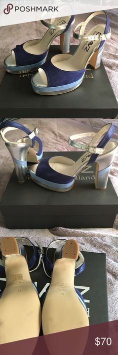 Soooooo HOT ankle strap shoe with a sturdy heel Ladies!!! This is a brand new, never worn true color heel that screams bad ass, fashionable night out on the town shoe! 2 shades of blue it's silver and detail on the heel straight from my shoe lover closet! Terry de Havilland Shoes Heels