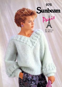 Sunbeam Knitting Patterns : Ladies sweater / jumper knitting pattern for mohair yarn Sunbeam patterns 110...