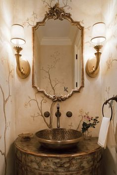 Catherine Cleare Interiors hand painted mural powder room