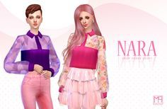 """NARA ♦ Crop sheer shirt """" Teen to elder 12 Colors """" [ Sim File Share ] [ TSR ] To be published May 23, 2016 About CC """"New item / Standalone / Catalog thumbnail / All lod Tool : Sims4studio / Blender /..."""
