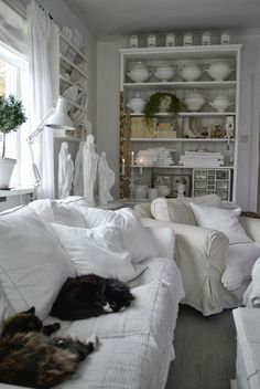 White distressed bookcase ~~~~ can do this with my wood bookcase maybe?