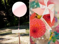 the simplicity of balloon...colors and texture of flowers/pinwheel