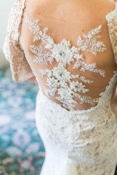 lace wedding dress detail - photo by Cameron Ingalls http://ruffledblog.com/european-sky-wedding-ideas