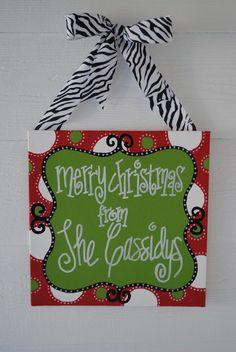 Merry Christmas Canvas. $25.00