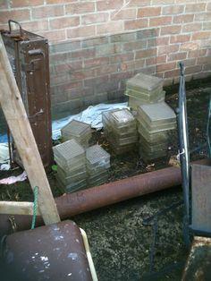 old glass bricks AKA garden rendered wall peep holes or shower wall for bathroom