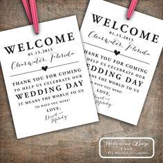 Custom Printable Wedding Welcome Bag Tags, Labels, Hotel Welcome Bags, Destination Welcome Bags, Thank You Tags, Customizable by RachelsPrintables on Etsy https://www.etsy.com/listing/215949917/custom-printable-wedding-welcome-bag