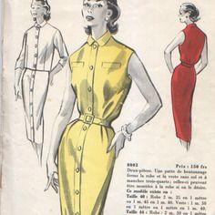 """Patron """"pochette"""" vintage, tailleur robe, années 50, jardin des modes"""