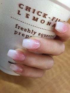 light pink ombré coffin nails