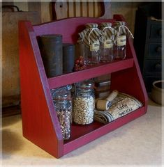 Primitive Step Back Spice Rack Farmhouse Kitchen Storage by Sawdusty / Original Design / Barn Red / Color Choice