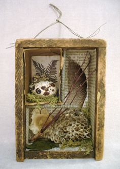 Nature Assemblage- The Feathered Nest ~ Dawn Coleman Edmonson Cadre Diy, Shadow Box Art, Nature Collection, Assemblage Art, Nature Crafts, Altered Art, Altered Tins, Mixed Media Art, Diy Art
