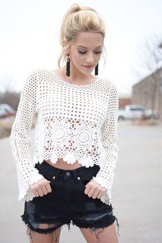 White Boho Crochet Crop Top