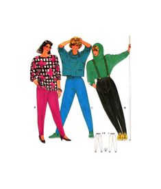 Please see picture 3 for further information about sizing. Pattern is uncut and factory folded. Vintage Patterns, Sewing Patterns, Stirrup Pants, Ski Pants, 1980s, Super Easy, Skiing, Knitting, Crochet