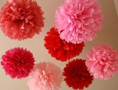Pink and reds tissue flower balls