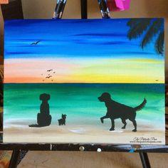 Items similar to Golden Retriever Art - Dog Lover - Dog Art - Dog Wall Art - Beach Painting - Beach Wall Art - Beach House Decor - Fine Art -Acrylic Painting on Etsy Summer Art Projects, Art Projects For Adults, Diy Projects, Silhouette Painting, Dog Silhouette, Golden Retriever Art, Golden Retrievers, Dog Beach, Retriever Puppy