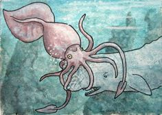 "ATC / ACEO 2,5""x3,5"" original watercolour mixed media painting of a colossal squid and sperm whale fighting in the deep sea"