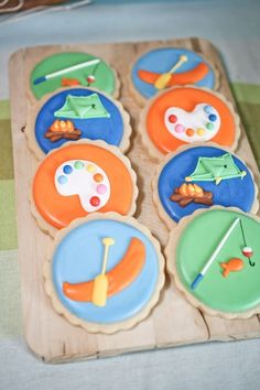 Summer Camp Theme Party Cookies - badges