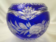 Lausitzer Cobalt Blue Lead Floral Cut to Clear Crystal Rose Bowl 6 1 2 Germany | eBay