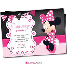 Minnie Mouse invitations Minnie Mouse Party Package door DellaEvents