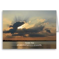 Shop Sympathy Thank You Note Card -- Sunset over Water created by sympathythankyou. Sympathy Thank You Notes, Funeral Thank You Cards, Thank You Greeting Cards, Thank You Postcards, Thank You Note Cards, Custom Thank You Cards, Sympathy Cards, Expressions Of Sympathy, Thank You Card Template