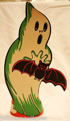 Vintage Halloween Die Cut ~ Stand Up Ghost with Bat Tabletop Decoration