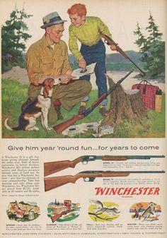 Winchester - Year around fun Vintage Advertisements, Vintage Ads, Vintage Posters, Hunting Art, Hunting Rifles, Hunting Rooms, Hunting Painting, Hunting Magazines, Old Magazines