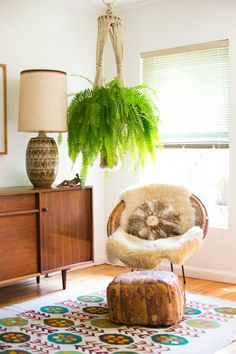 Furniture:Mid Century Room Design With Brown Wood Drawer Feat Drum Shaped Brown Table Lamp Near Round Rattan Papasan Chair With Ottoman Under Green Hanging Plants Retro-Modern Furniture: Take a Look This Unique Papasan Chairs Home Interior, Interior Design, Modern Interior, Decoration Plante, Papasan Chair, Indoor Plants, Indoor Ferns, Air Plants, Green Plants