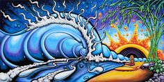 Drew Brophy store for Surf and Ocean Art, Sacred Geometry Fine Art Posca Art, Surfboard Art, Surfboard Painting, Wave Art, Surf Art, Ocean Art, Illustrations, Fantasy, Beach Art