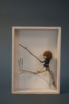 Image of NEEDLE FELTED FAIRY DOLL IN SHADOW BOX - FISHERMAN (shabby/blue)