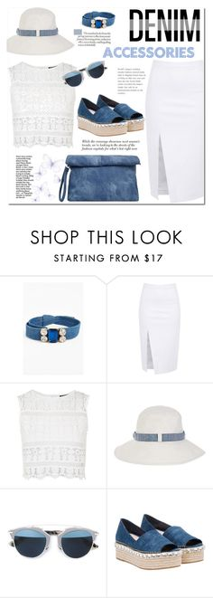 """""""Jean-ious Accessories"""" by j-sharon ❤ liked on Polyvore featuring Cara, Topshop, Accessorize, Christian Dior, Miu Miu and denim"""