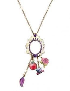 Ever After High™ Mirror Charm Necklace. I have this. So so cute! The mirror is the magical mirror, and you can actually see in it! The charms are for the four main characters. The Apple: Apple white. The feather: raven queen. The hat: Madeline hatter. The rose: briar beauty