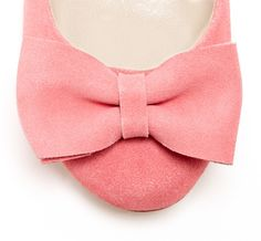 soft pink suede bow flats