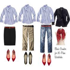 """10 - Piece Wardrobe - Blue Shirt"" by bluehydrangea on Polyvore"