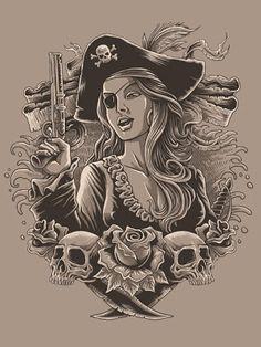 Pirate Boats, Pirate Art, Pirate Woman, Pirate Life, Pirate Girl Tattoos, Pirate Skull Tattoos, Yogi Tattoo, Girl Pirates, Ship Drawing