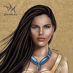 MARIANA RIOS COMO POCAHONTAS By Higgo Cabral #illustrations #ilustrações #ilustração #princesas #princess #disney http://www.julianefreire.com.br/2015/10/ilustrador-higgo-cabral-transforma.html