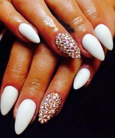 """#manicure #love #opi #new #nails #loveopi #white #swarovski #newnails #instagood #instanails #instamanicure #nail #nailpolish #nails2inspire #perfect…"""