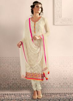 Off White Embroidered Straight Salwar Kameez