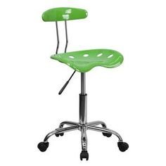 Flash Furniture Vibrant Spicy Lime and Chrome Computer Task Chair with Tractor Seat LF-214-SPICYLIME-GG