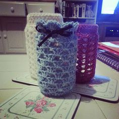 meanyjar: Crochet granny jar cover