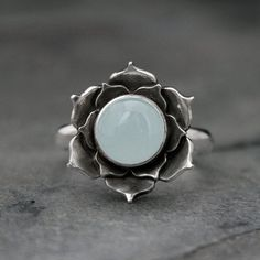 awesome cool Aquamarine Lotus Ring, Sterling Silver Statement Ring, Luminous Lotus Flowe...