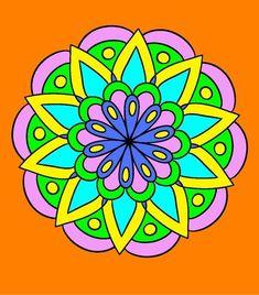 Mandalas coloreados fáciles - Mandalaweb Mandala Art, Simple Mandala Tattoo, Mandala Design, Mandala Colour, Diy Nursery Decor, Clay Flower Pots, Chalk Markers, Barn Quilts, Mandala Coloring